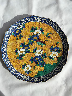 "Kutani Takahashi 10"" Hand Decorated Plate Yellow & Blue with Bird Replacement"