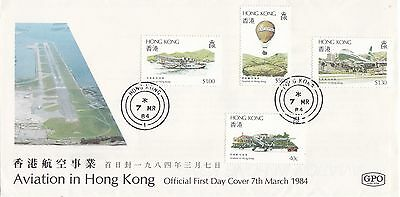 """Hong Kong, 1984 """"aviation In H.k."""" Stamp On Gpo Fdc With Hong Kong Star #1 Chop"""