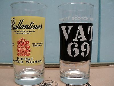 A set of 2 Scotch Drinking Glass Ballantine's and Vat 69 in EUC