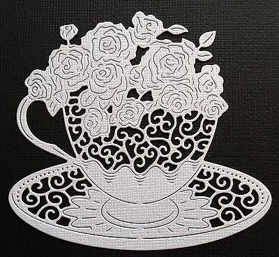 CHOICE of COLOUR... 4 x Teacup & Roses, Die Cuts, Embellishments .