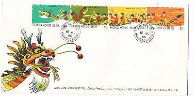 """Hong Kong, 1985, """"dragon Boat Festival"""" Stamp On Gpo Fdc With T.s.t. #10 Chop"""