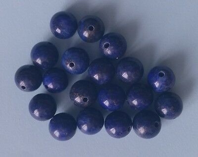 20 LAPIS LAZULI BEADS 8-9mm ROUND ~ Semi-precious gemstone