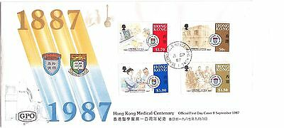 """Hong Kong, 1987, """"medical Cent."""" Stamp Set On Gpo Fdc, With Beaconfield #1 Chop"""