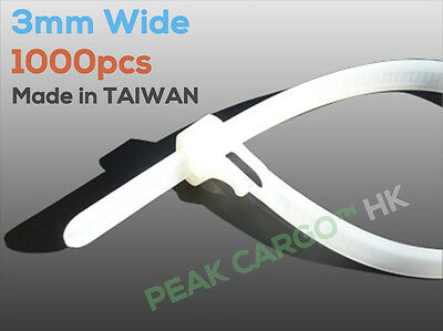 1000pcs Pack 3mm Wide Self-Locking Nylon Cable Ties PA66 Nature White TAIWAN
