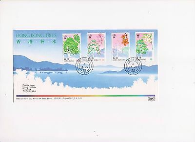 """Hong Kong, 1988, """"hong Kong Trees"""" Stamp Set On Gpo Fdc, With Philatelic Label"""