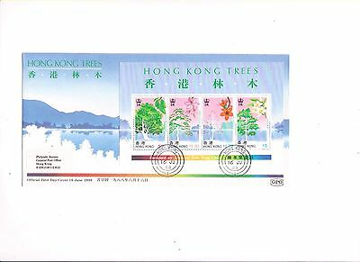 """Hong Kong, 1988, """"hong Kong Trees"""" S/s On Gpo Fdc, With Philatelic Label"""