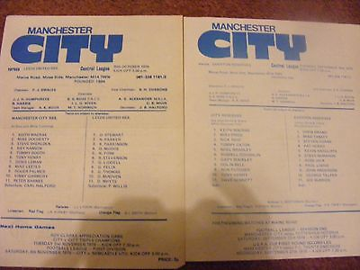 SINGLE SHEET Man City  Reserves v  Everton 1978 Manchester