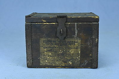 Antique PRIMITIVE CLARITE HIGH SPEED TOOL HOLDER BITS WOODEN DOVE TAILED BOX