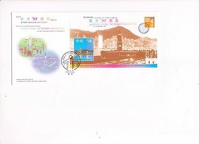 """Hong Kong, 1997, """"h.k. 97' Stamp Exhibition #5"""" S/s On Gpo Fdc With Special Chop"""