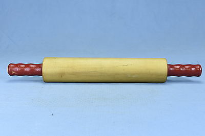 Antique Vintage RED HANDLED ROLLING PIN KITCHEN BAKING UTENSIL OLD