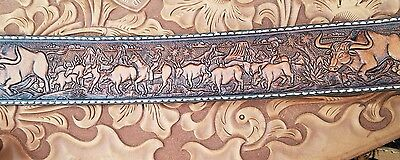 #16 LEATHER BELT EMBOSSING ROLL LONGHORN COW SOLID BRASS VINTAGE TOOL 1980s USA