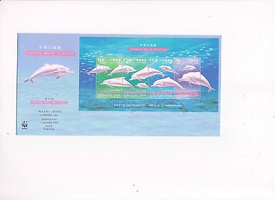 """Hong Kong, 1999, """"chinese White Dolphin"""" S/s On Gpo Fdc With Special Chop"""