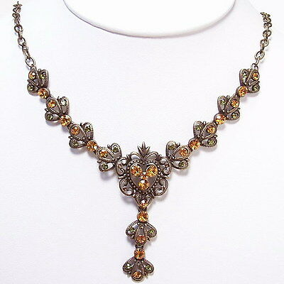 Vintage Style Pendant Necklace Earrings Set Citrine Peridot New Green Yellow