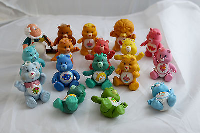 GREAT LOT OF 17 Vintage 1980'S POSABLE CARE BEARS FIGURES
