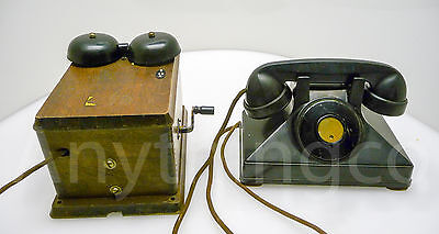 Antique Northern Electric Telephone With Wooden Crank Ringer Box