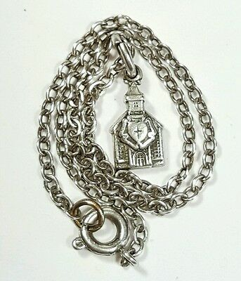 Vtg Jewelry Bracelet Sterling Silver 925 Chain Lutheran Church Charm Unique#1255