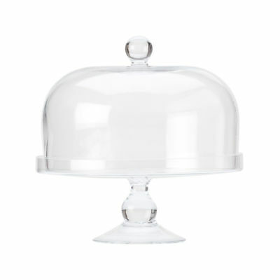 Glass Cake Stand with Dome Lid, 25cm, Maxwell & Williams 'Diamante', Cafe Displa