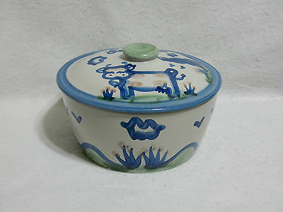 """M A Hadley Country Scene Blue (Cow & Pig) Covered Casserole (8"""" x 3-3/4"""" to rim)"""