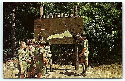 Postcard Boy Scouts America BSA Camp Carpenter Map Long Pond Manchester NH  R01