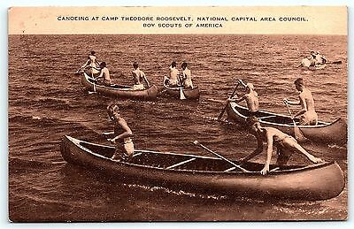 Postcard Boy Scouts BSA Canoeing Camp Theodore Roosevelt DC National Capital R01