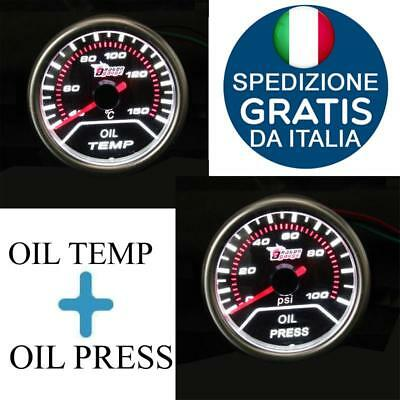 "2"" 52Mm Led Strumento Manometro Pressione Olio Con Temperatura Olio Auto Race"