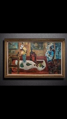 Original Painting By Zoma Baitler 'hommage A Braque' Interieur Huile Sur Toile
