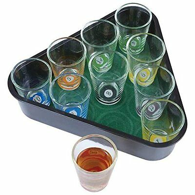 Maxam SPPOOL Pool Drinking Game Set (11 Piece), Glass, SPPOOL, Clear, NEW INX