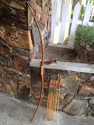 """Vintage 60"""" hickory longbow  and arrows"""