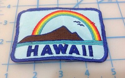 Hawaii Embroidered Patch With Rainbow