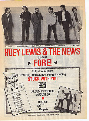 "1986 Huey Lewis & The News ""Fore"" Album Canadian Tour Trade  Print Advertisement"