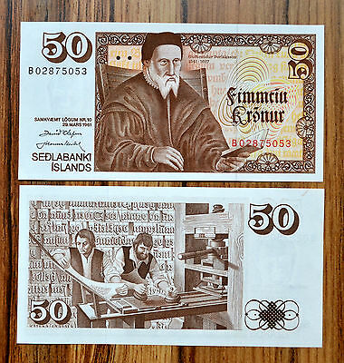 Iceland 50 Kronur L. 1961 (1981) P-49  Unc  Banknote World Currency Paper Money