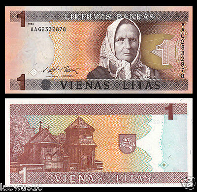 Lithuania Lietuvos 1 Litas 1994 P-53  Unc Banknote Currency