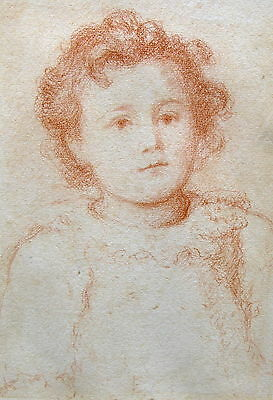 Antique  Late Victorian Drawing of a Child in Brown Chalk