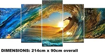 WAVE- EXTRA LARGE SPLIT FRAMED CANVAS PRINTS !!! Modern Exclusive Art Painting