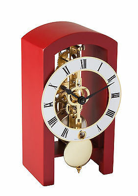HERMLE Table Skeleton Mantel Clock mechanical 8-day movement red Made Germany