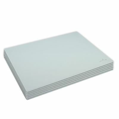 Glass Placemats - Set f 6 Dinner Table Place mats White 300x200mm