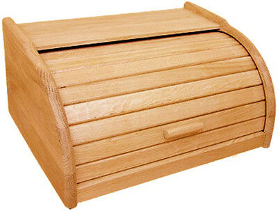 New Bread Bin Wood Wooden Roll Top Storage Container Box Small Regular