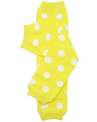 Yellow White Polka Dots Leg Warmers Newborn Infant and Baby Toddler Sizes Girl