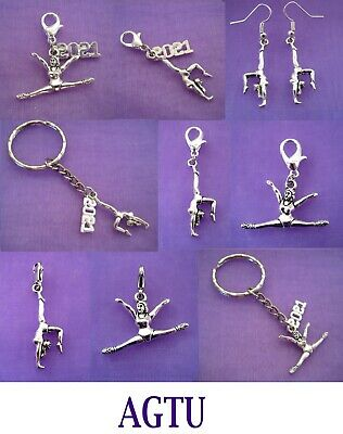 YOU PICK Clip On, Earrings or Keyring Silver Gymnastics Dance Girl Charm Gymnast