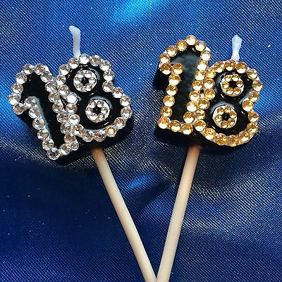 18th Birthday Candle Diamante Silver or Gold EIGHTEEN Cake Topper Party