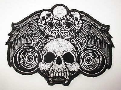 Skulls Eagle wings Patch - Sew/iron on rider biker motorcycle Men's shed