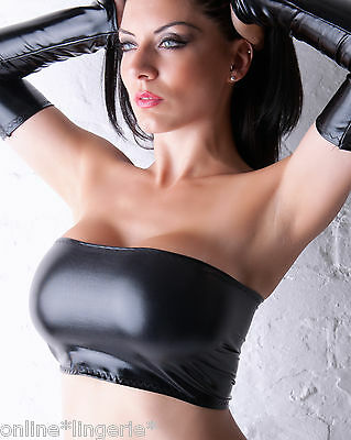 BLACK Wet Look BOOB TUBE TOP Faux PVC Lycra Strapless Club Party Womens Sexy B33