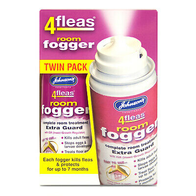 Johnson's IGR 4 Fleas Room Fogger. 100ml can x 2. Protects for up to 7 months.