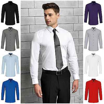 Mens Fitted Long Sleeve Shirt Business Work Smart Formal Casual Dress Shirt