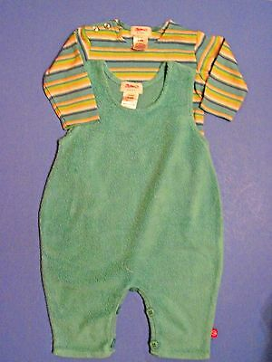 EUC Unisex Boys or Girls Zutano Aqua Fleece Romper & Stripe Shirt Lot 0-6 Months