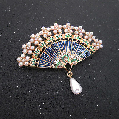 Oriental style Chinese brooch Chinese fan Art piece Woman brooch pin pearl
