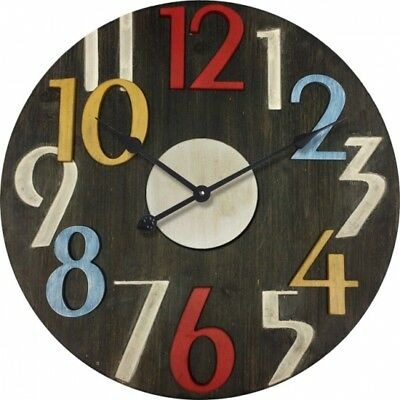 Clock French Country Vintage Inspired Wall Clocks Time BLACK LARGE NUMBERS 60...