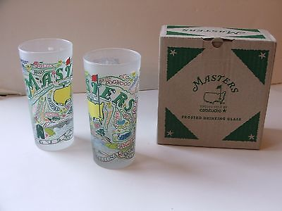 Augusta National Masters Golf Brand New Frosted Glasses 2016 Set of 2 Exclusive