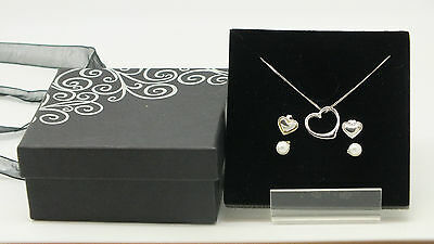 Silver Sterling 925 Jewellery Set Necklace with Matching Earrings Gift Box
