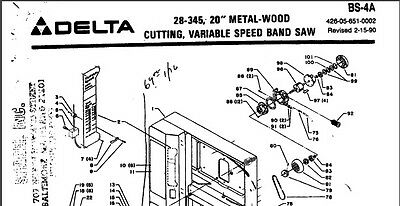 """Delta 20"""" Metal-Woodcutting Bandsaw 28-345 Parts List PDF on CD"""